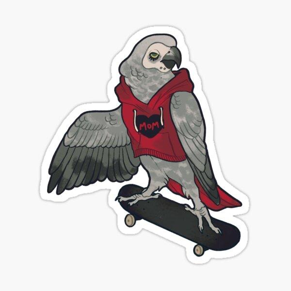 African Grey Skater  Sticker