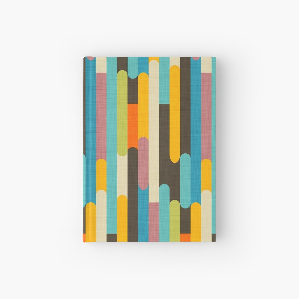Retro Color Block Popsicle Sticks Blue Hardcover Journal