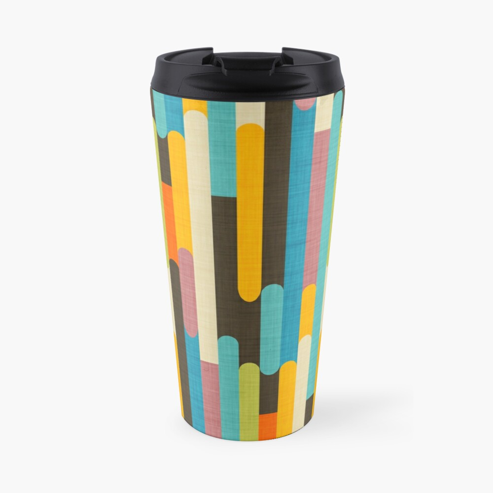 Retro Color Block Popsicle Sticks Blue Travel Mug