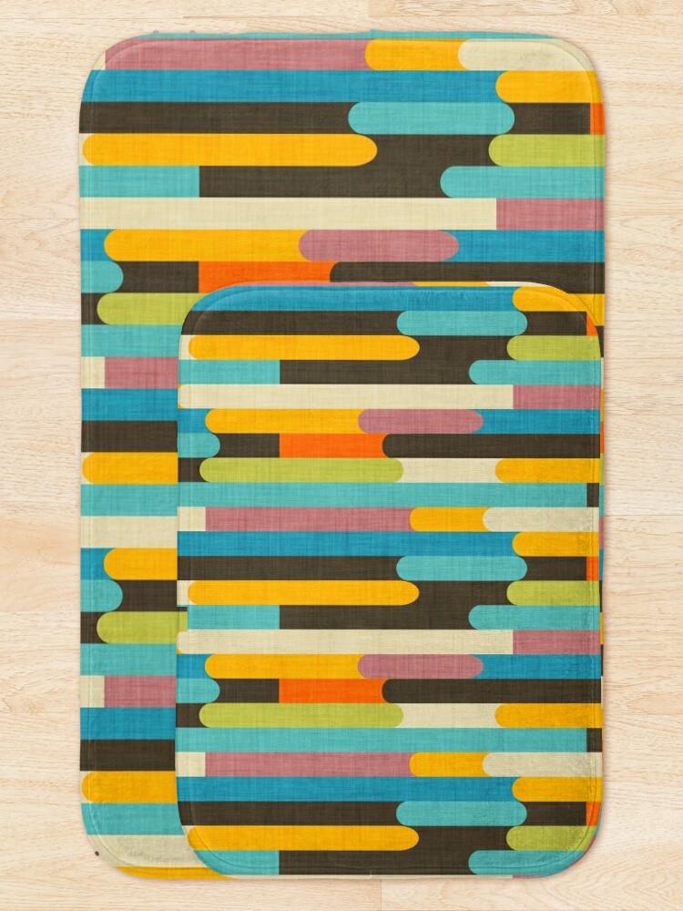 Alternate view of Retro Color Block Popsicle Sticks Blue Bath Mat