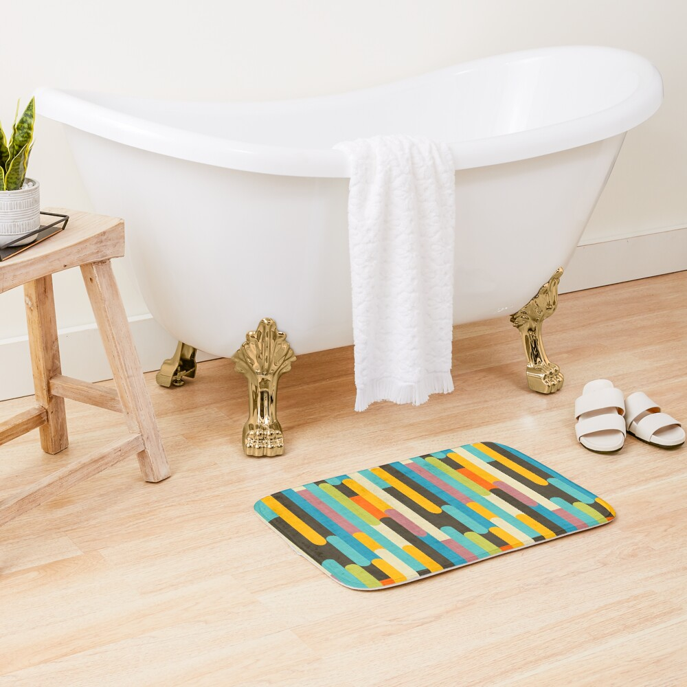 Retro Color Block Popsicle Sticks Blue Bath Mat