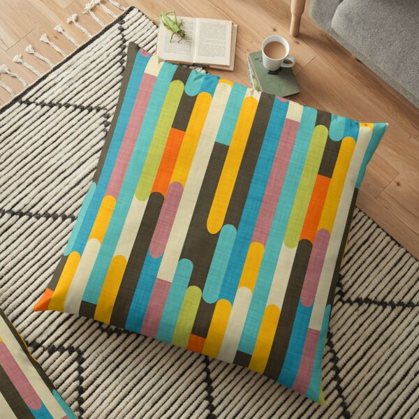 Retro Color Block Popsicle Sticks Blue Floor Pillow