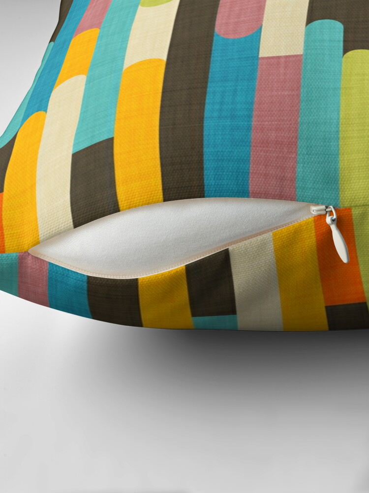 Alternate view of Retro Color Block Popsicle Sticks Blue Floor Pillow