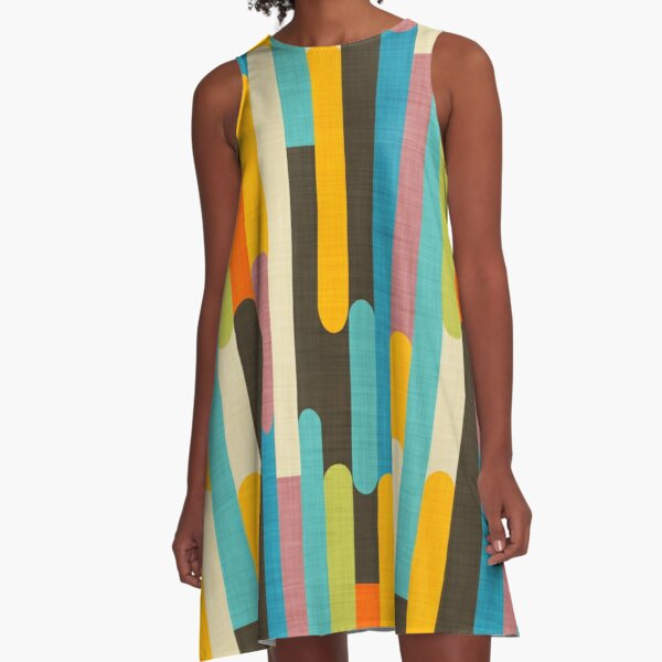 Retro Color Block Popsicle Sticks Blue A-Line Dress