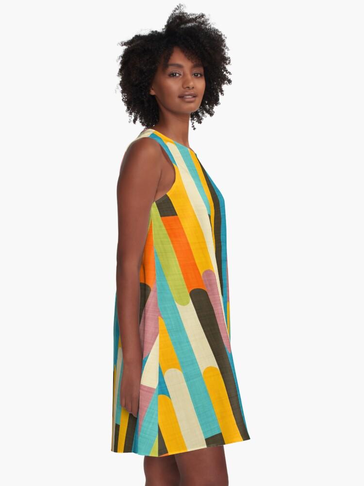 Alternate view of Retro Color Block Popsicle Sticks Blue A-Line Dress