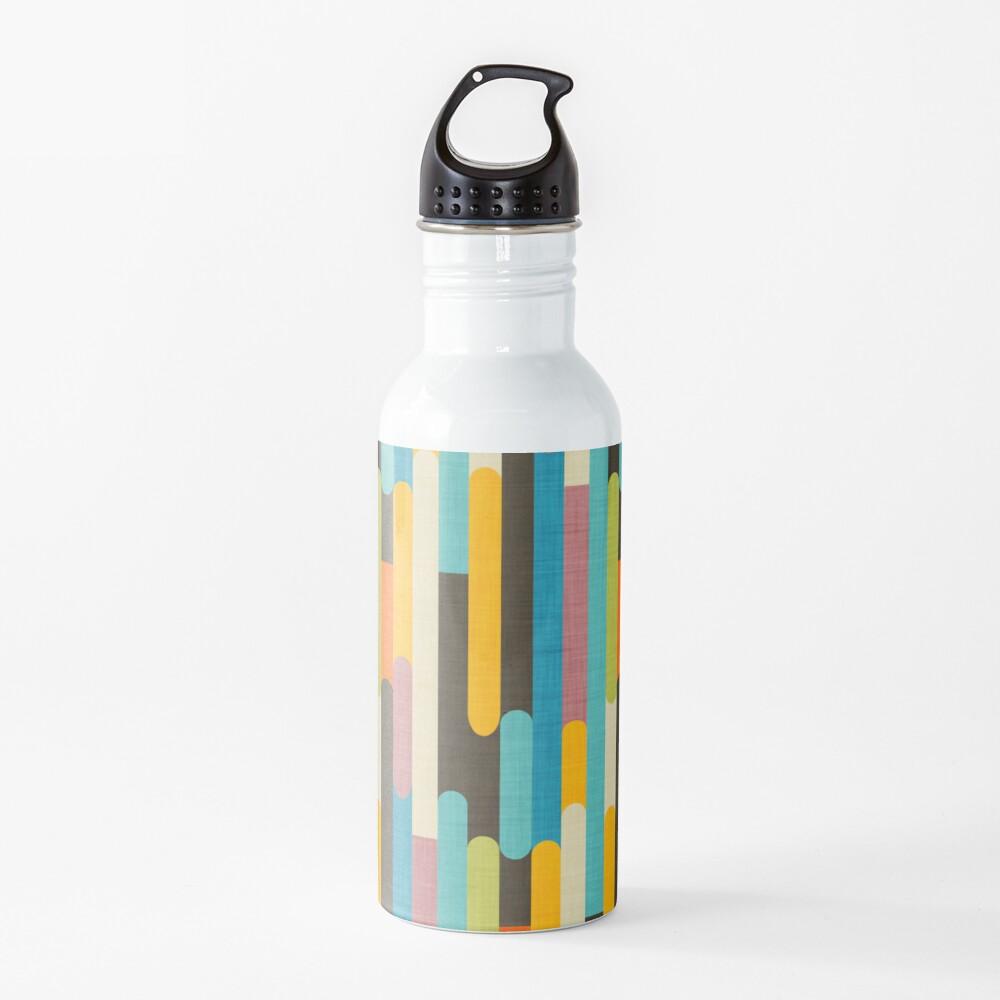 Retro Color Block Popsicle Sticks Blue Water Bottle