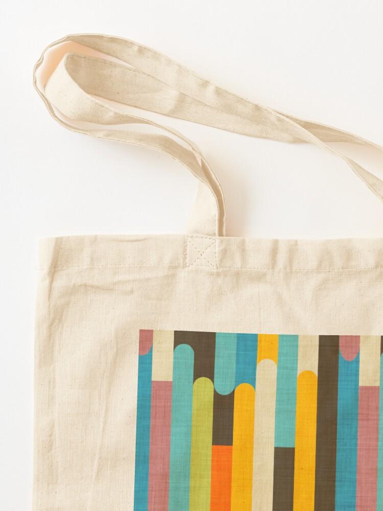 Alternate view of Retro Color Block Popsicle Sticks Blue Tote Bag