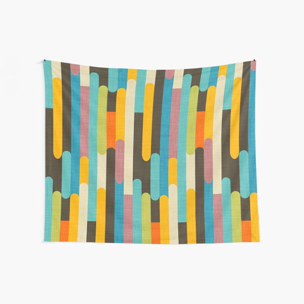 Retro Color Block Popsicle Sticks Blue Wall Tapestry