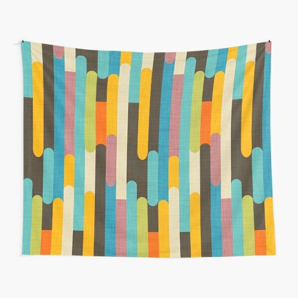 Retro Color Block Popsicle Sticks Blue Tapestry