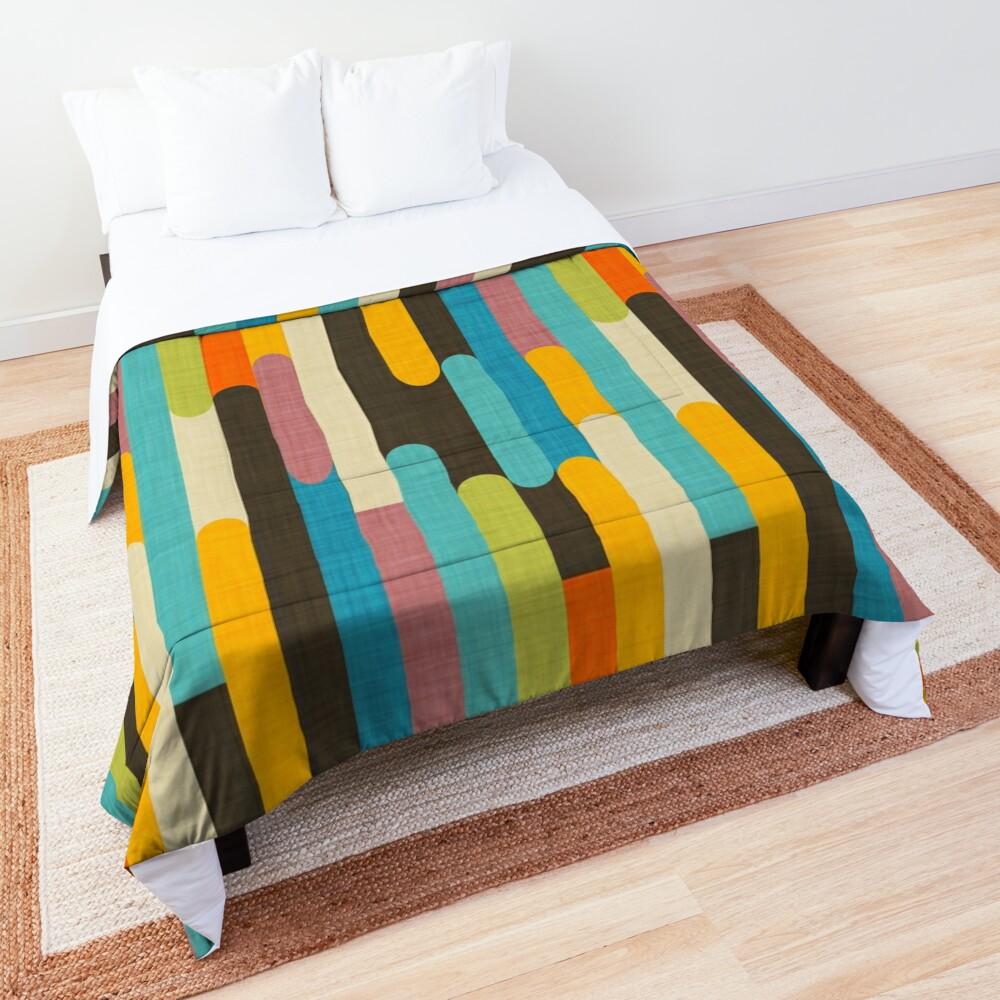 Retro Color Block Popsicle Sticks Blue Comforter