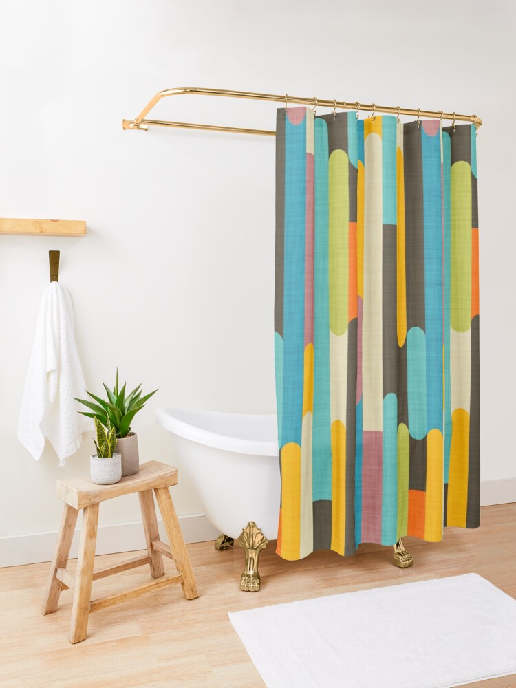 Alternate view of Retro Color Block Popsicle Sticks Blue Shower Curtain