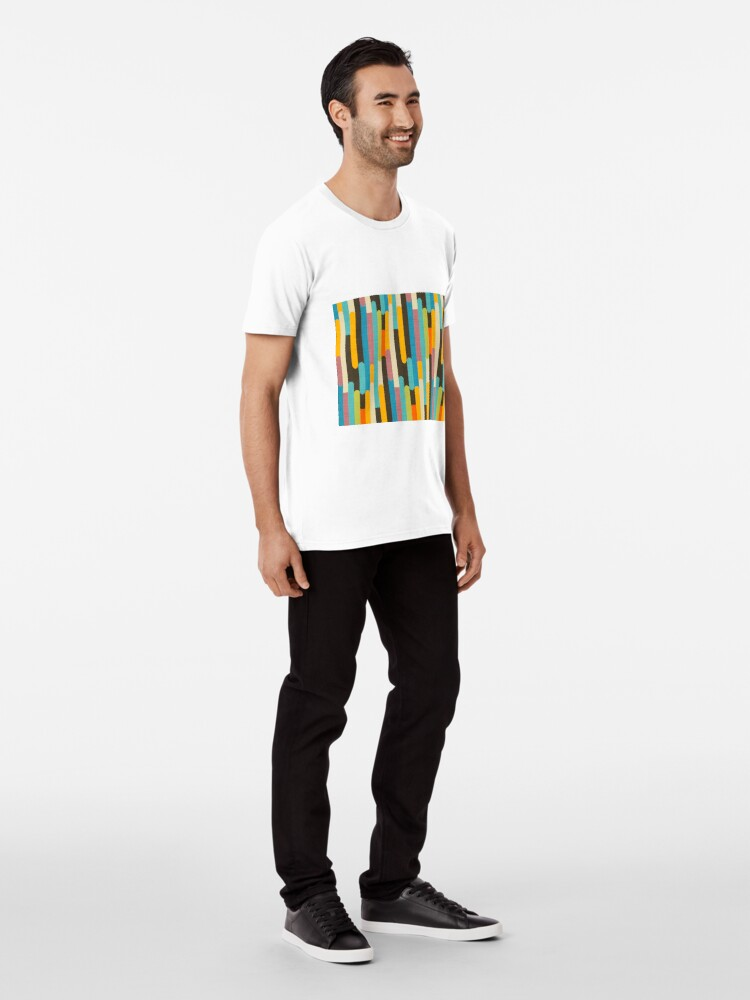 Alternate view of Retro Color Block Popsicle Sticks Blue Premium T-Shirt