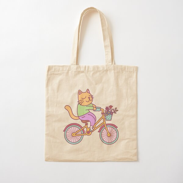 Happy Bicycle Kitty Cotton Tote Bag