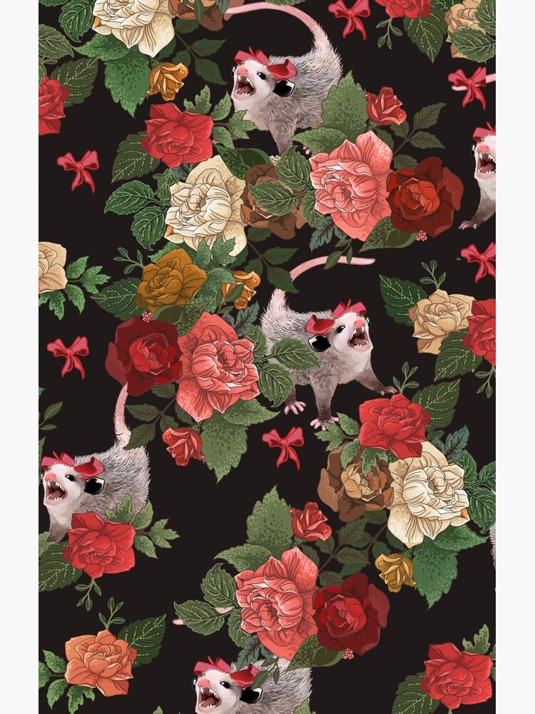 Opossum floral pattern by dcrownfield