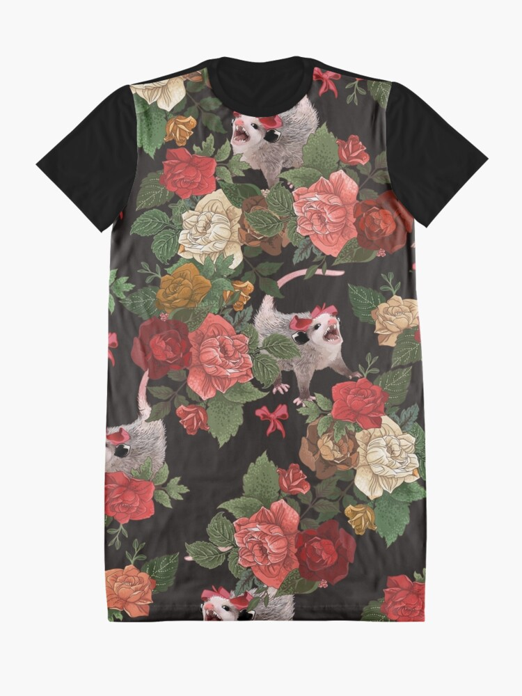 Alternate view of Opossum floral pattern Graphic T-Shirt Dress