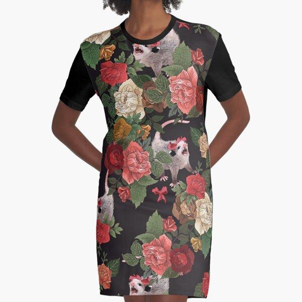 Opossum floral pattern Graphic T-Shirt Dress