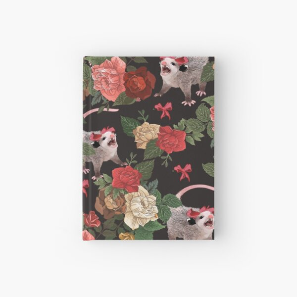 Opossum floral pattern Hardcover Journal