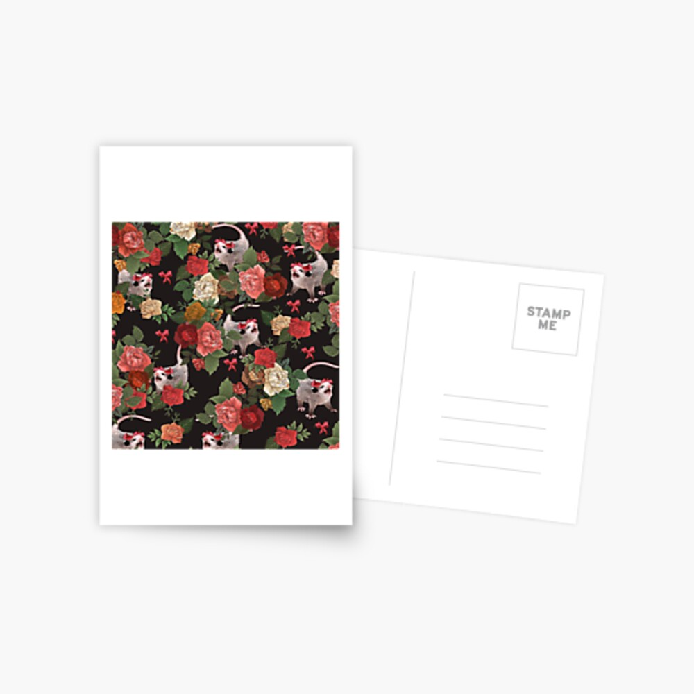 Opossum floral pattern Postcard