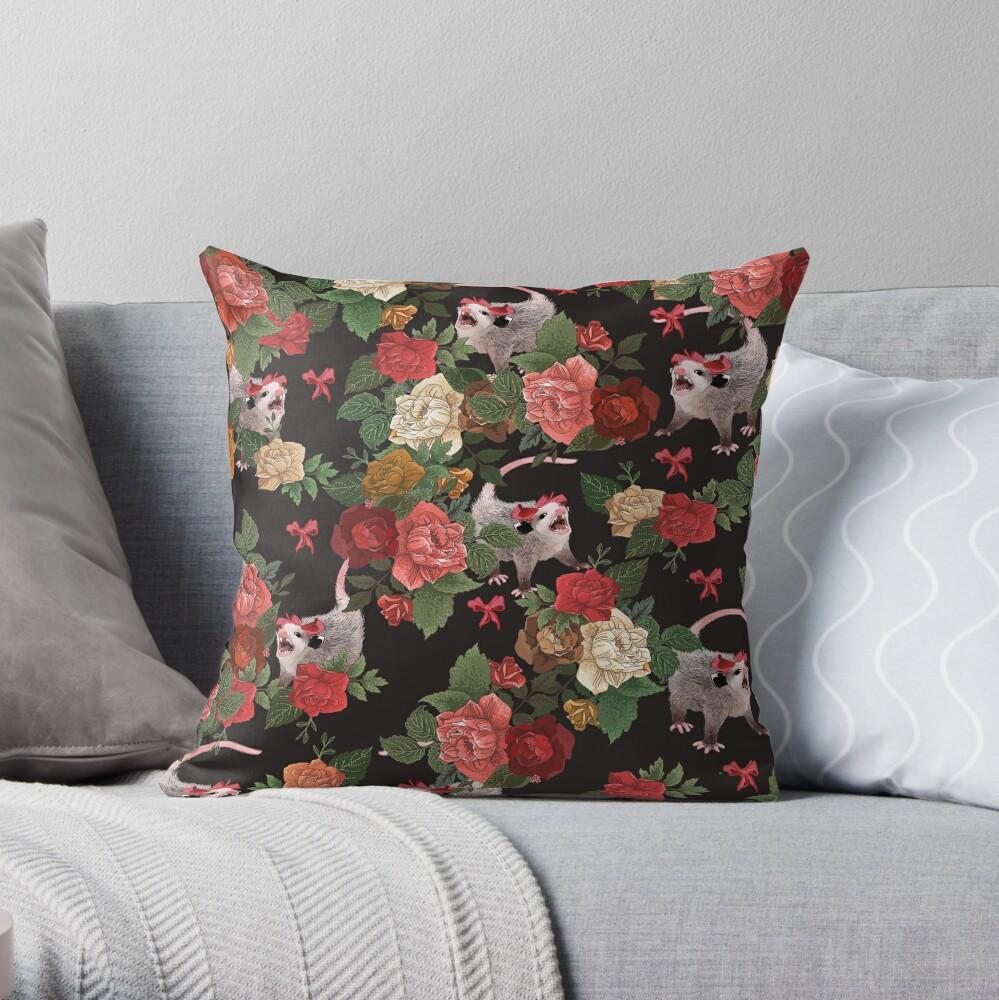 Opossum floral pattern Throw Pillow
