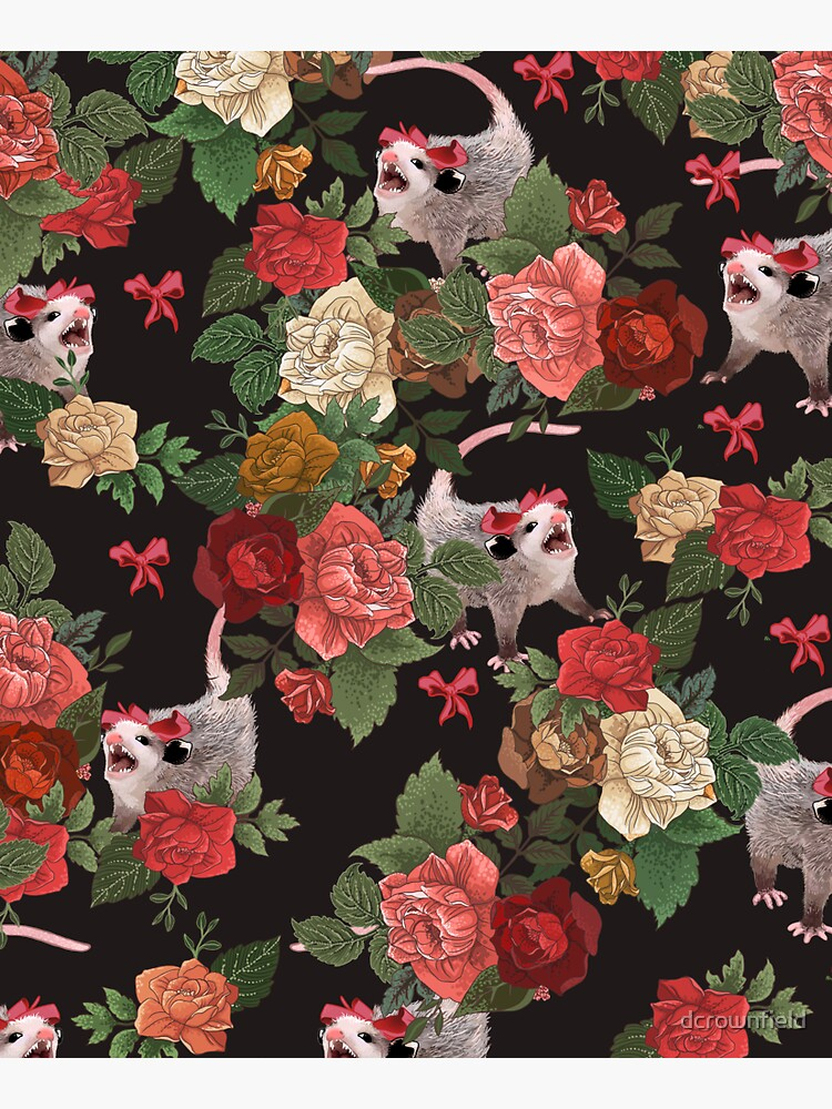 Opossum floral pattern by dcrownfield