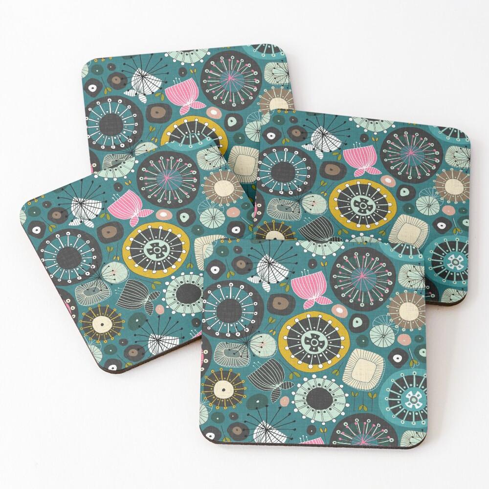 blooms teal Coasters (Set of 4)