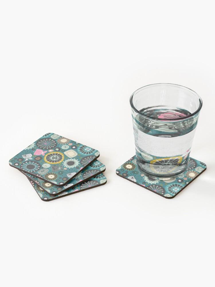 Alternate view of blooms teal Coasters (Set of 4)