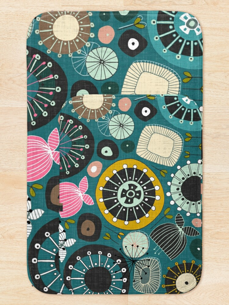 Alternate view of blooms teal Bath Mat