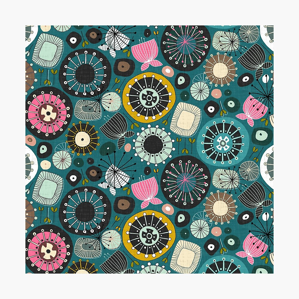 blooms teal Photographic Print