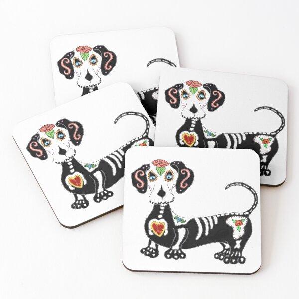 Dachshund Sugar Skull Coasters (Set of 4)