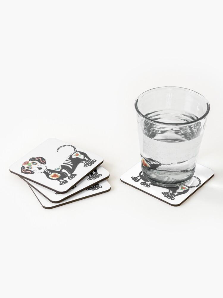 Alternate view of Dachshund Sugar Skull Coasters (Set of 4)