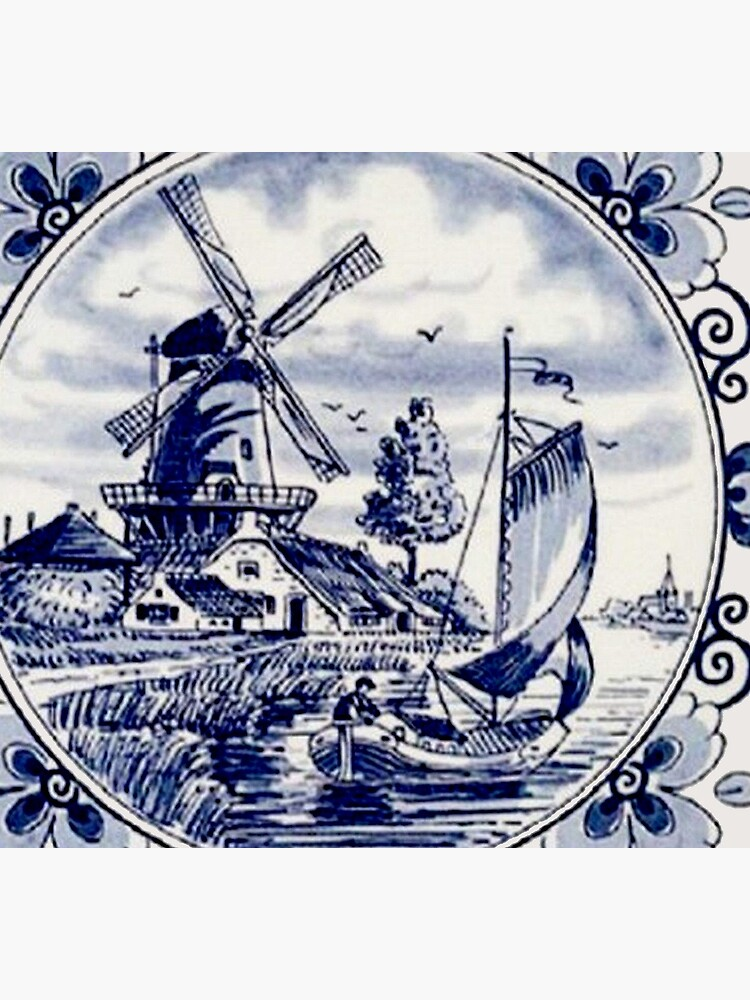 DUTCH BLUE DELFT: Vintage Windmill Print by posterbobs
