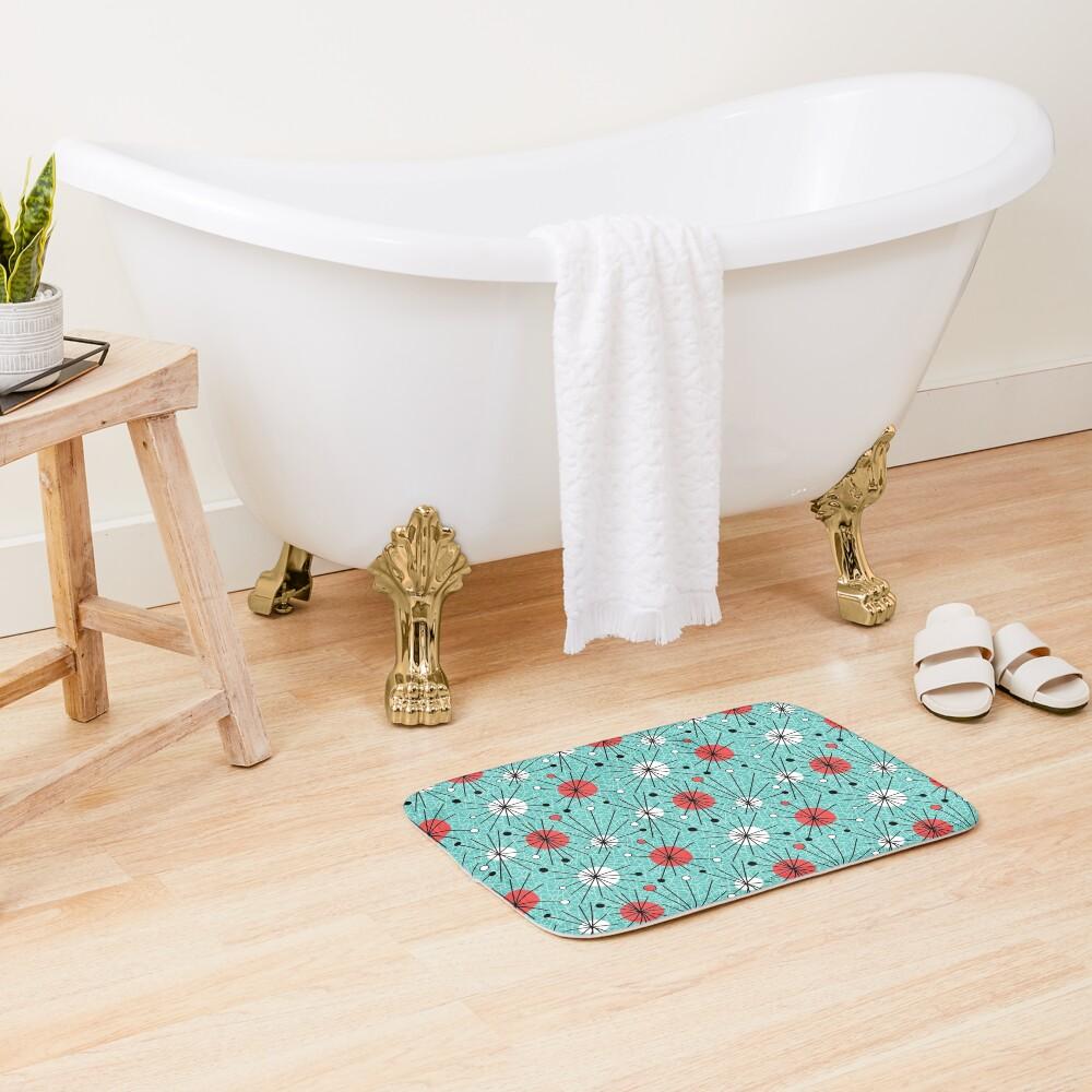 Mid Century Aqua Orange Bath Mat