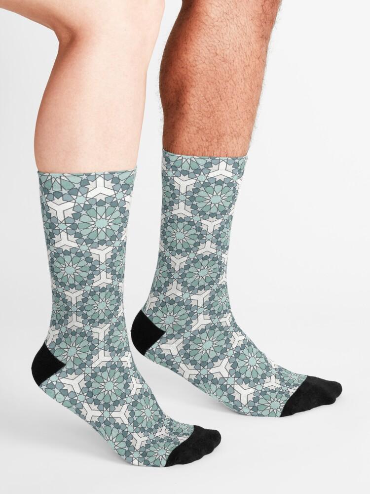 Alternate view of Geometric Pattern: Arabic Tiles: Seafoam Socks