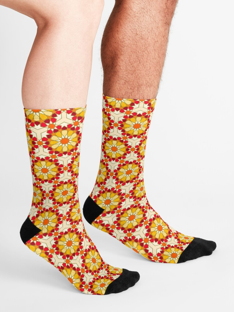 Alternate view of Geometric Pattern: Arabic Tiles: Sunset Socks