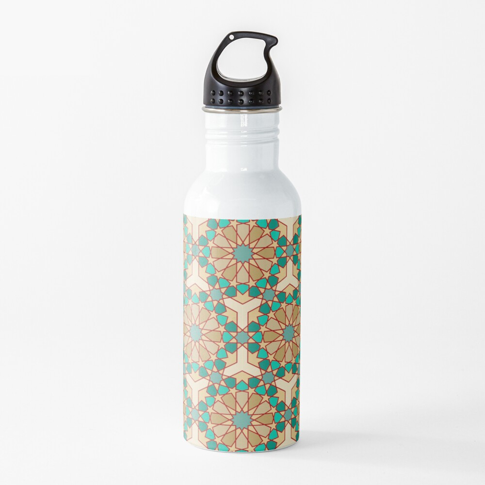 Geometric Pattern: Arabic Tiles: Turquoise Water Bottle
