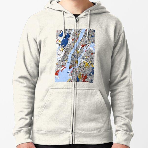 New York Mondrian map Zipped Hoodie