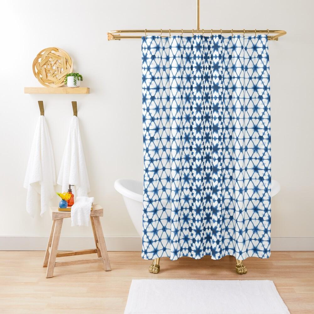 Shibori via Morocco Shower Curtain