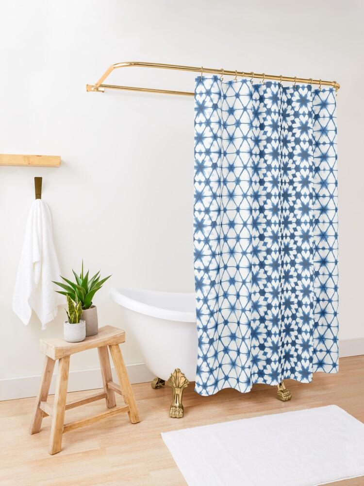 Alternate view of Shibori via Morocco Shower Curtain
