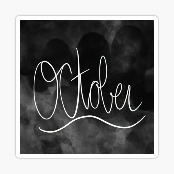 October Monthly Calligraphy Cover Artwork Sticker