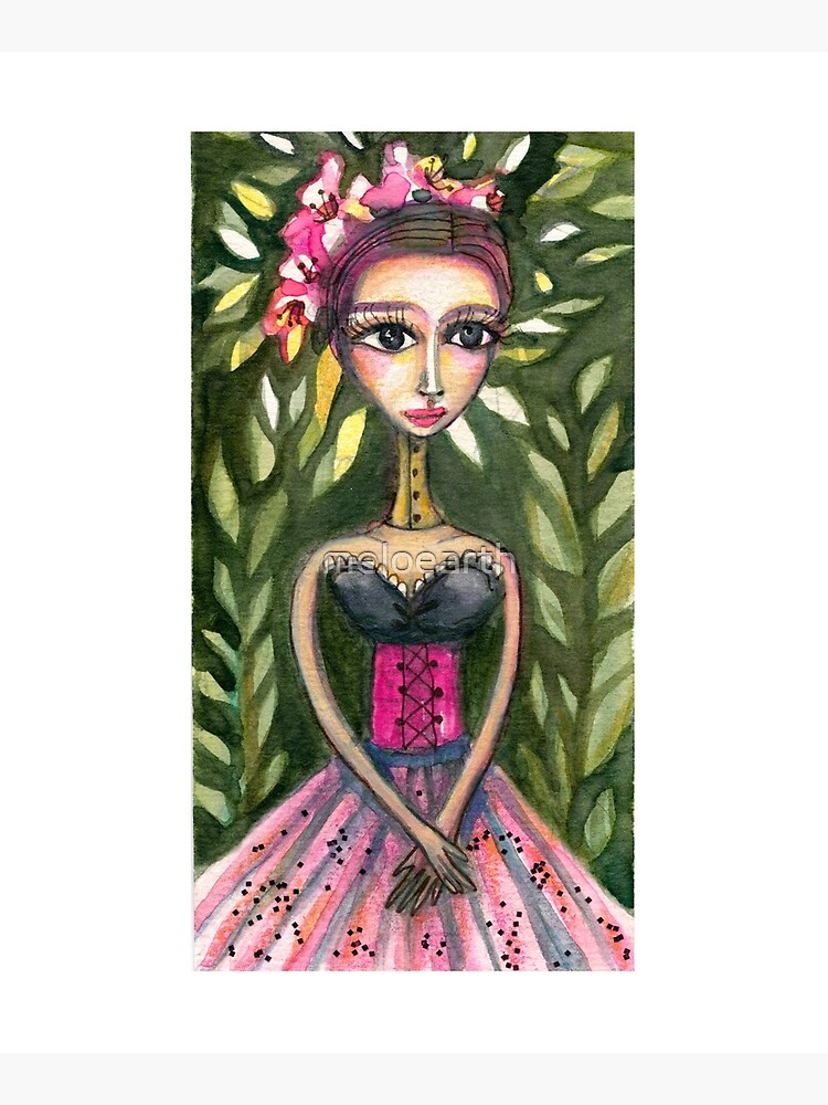 Frida Kahlo in Pink Corset and Green Background  by meloearth