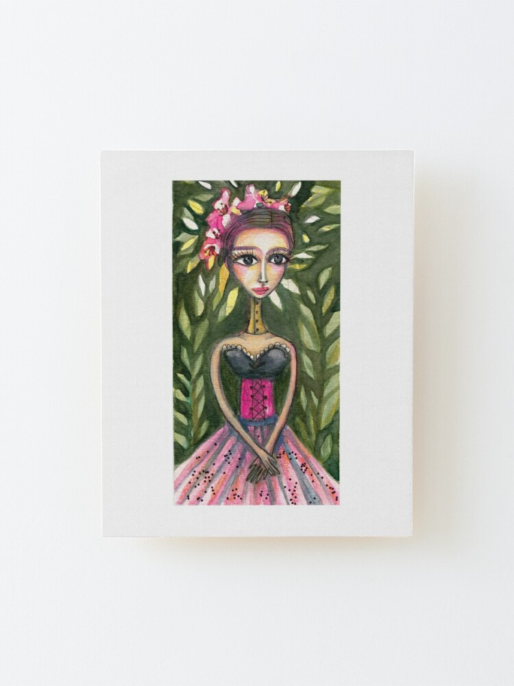 Alternate view of Frida Kahlo in Pink Corset and Green Background  Mounted Print