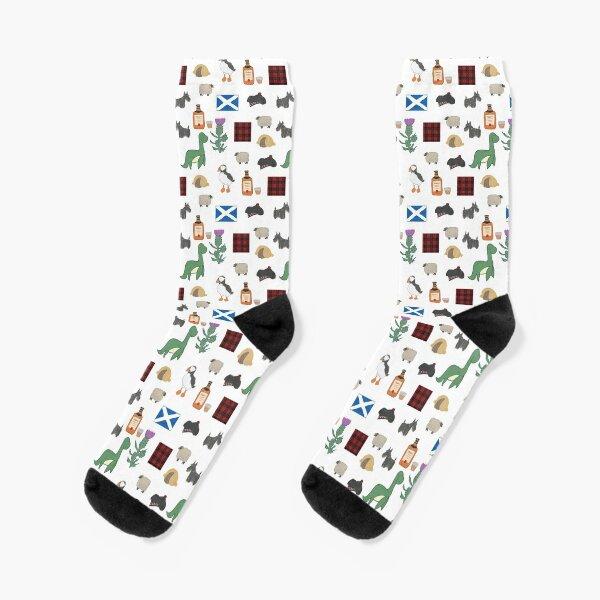 Kawaii Scottish Icons cute Pattern Design Socks