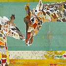 Collage Art Giraffe and Calf by traciwithani