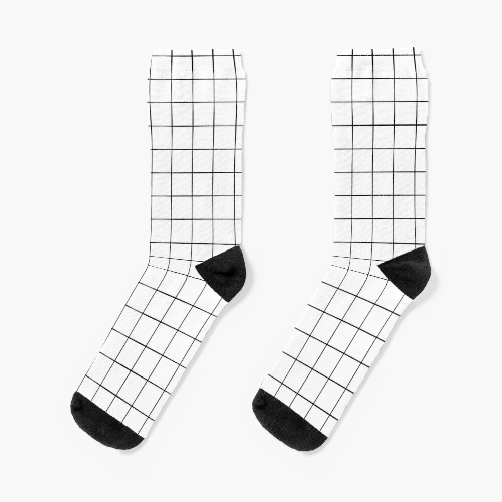 White Grid Socks