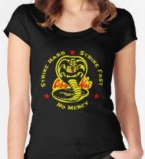 Cobra Karate First Strike Hard Kai Strike Fast No Mercy Fitted Scoop T-Shirt