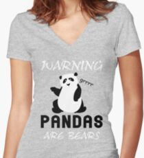 Warning Pandas Are Bears Women's Fitted V-Neck T-Shirt