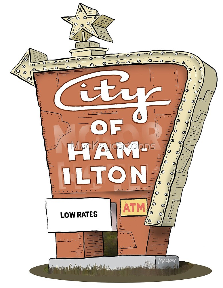 City Motor Hotel Welcome to Hamilton sign by MacKaycartoons