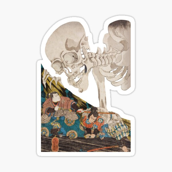 Skeleton Ghost Ukiyo-e Woodblock Print Sticker