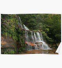 Katoomba Falls .. with green & orange Poster