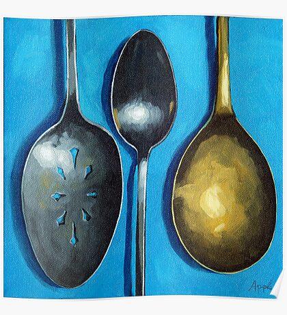 Spoonin' Around - kitchen art utensils Poster